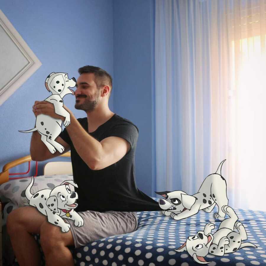 Man photoshops Disney's 101 Dalmatians into a scene in his bedroom.