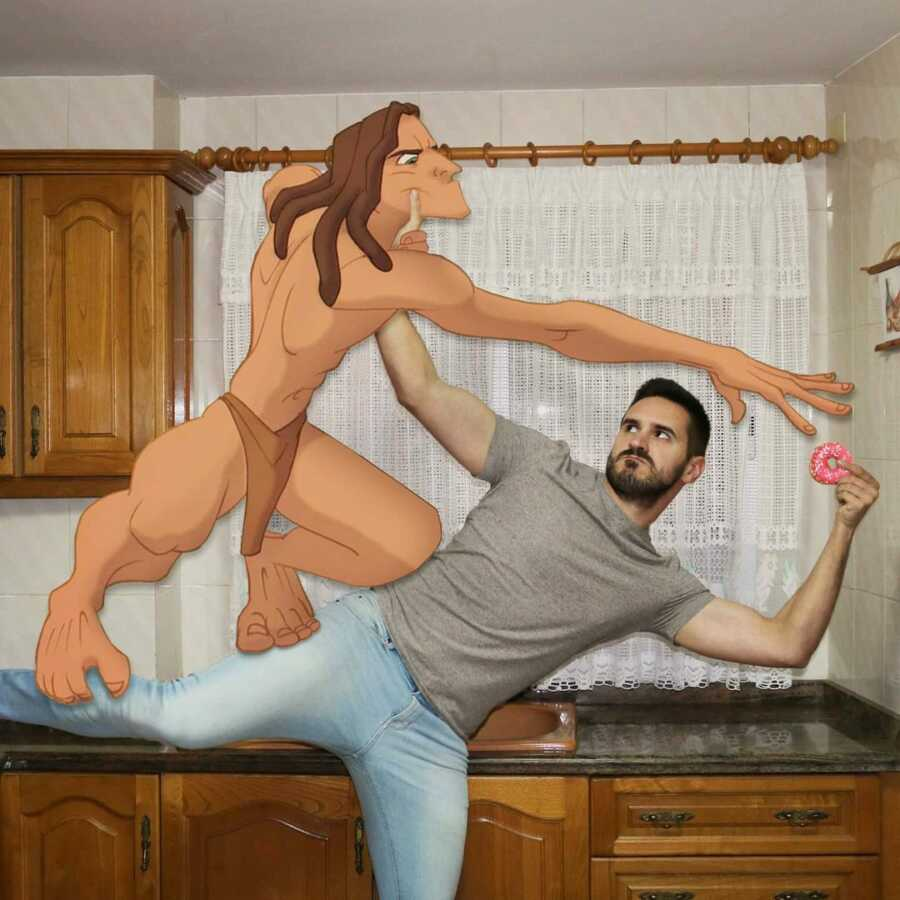 Man photoshops Disney character, Tarzan, into a scene of them fighting over a donut.