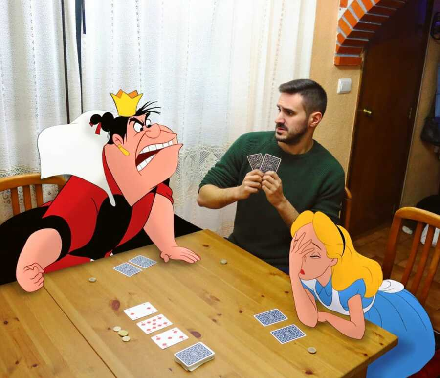 Man photoshops Disney characters from Alice In Wonderland playing a card game with him.