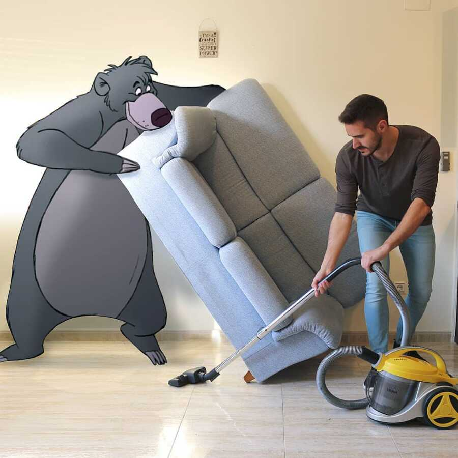 Man photoshops Disney character, Baloo, into a scene helping him vacuum his living room.