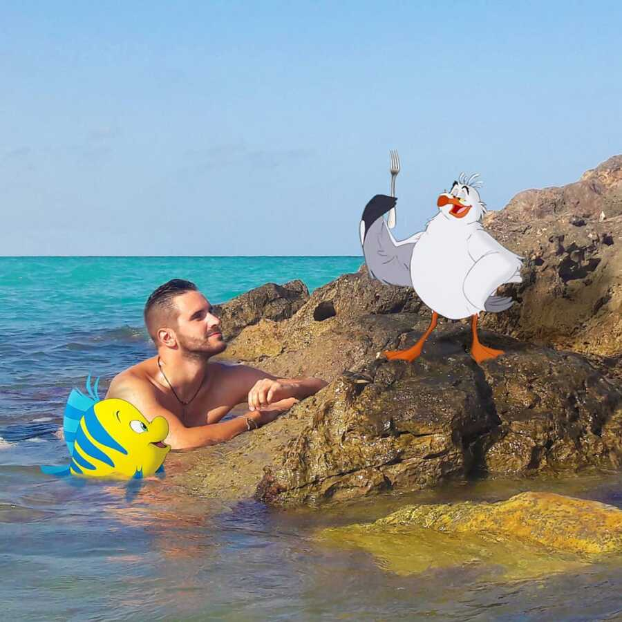 Man photoshops Disney characters from the Little Mermaid into a scene in the ocean..