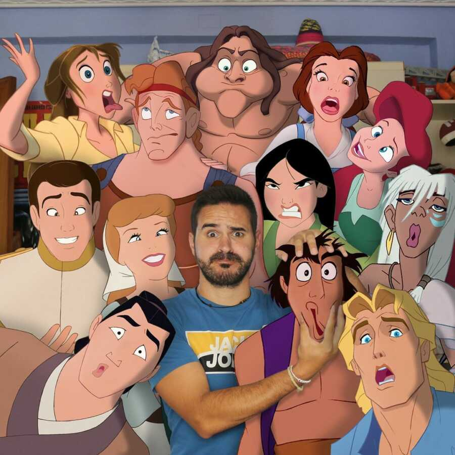 Man photoshops Disney characters into a group selfie with him.