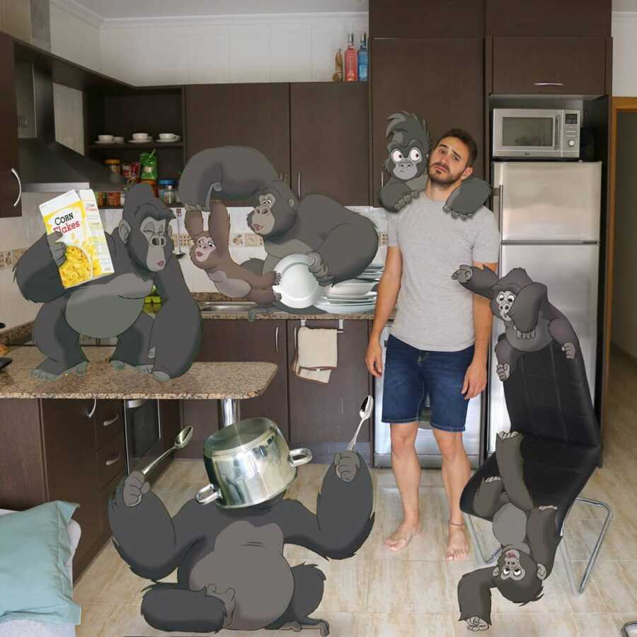 Man photoshops monkeys from Disney's Jungle Book into a scene in his kitchen..