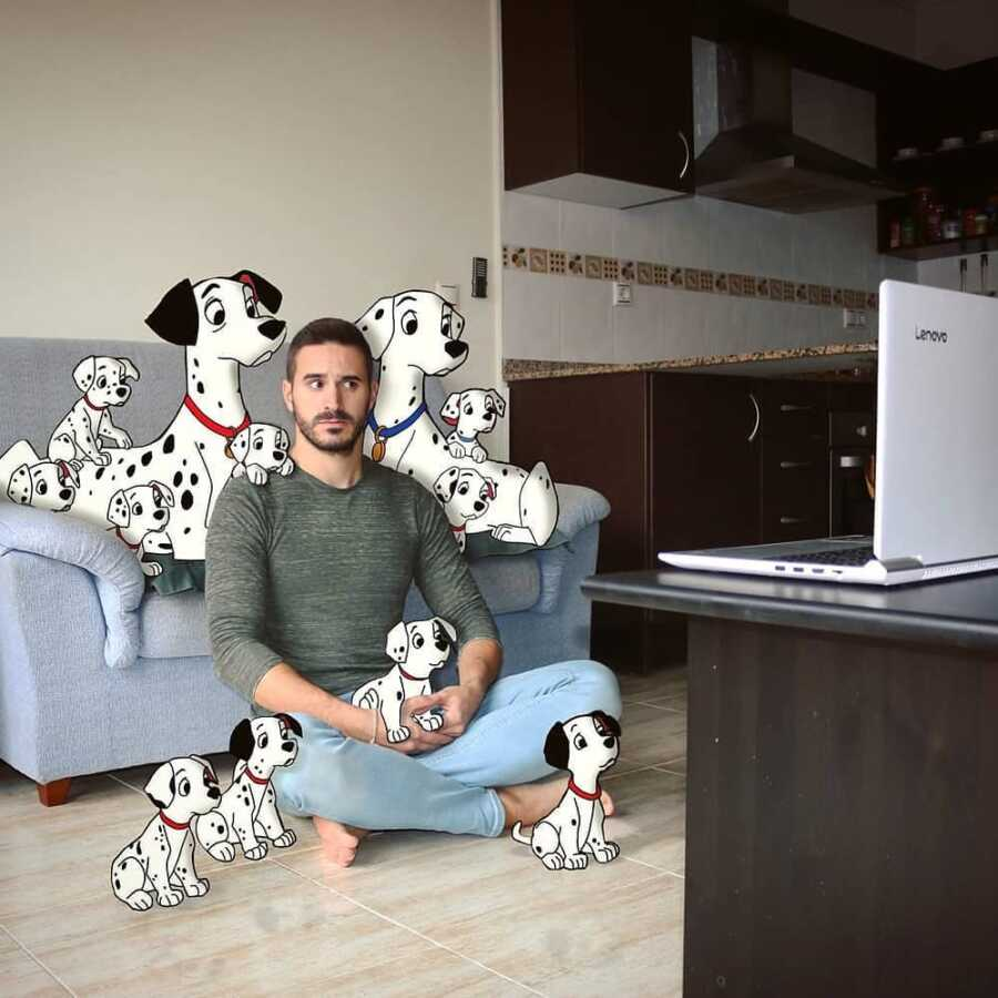 Man photoshops Disney 101 Dalmatians characters into a scene in his living room.