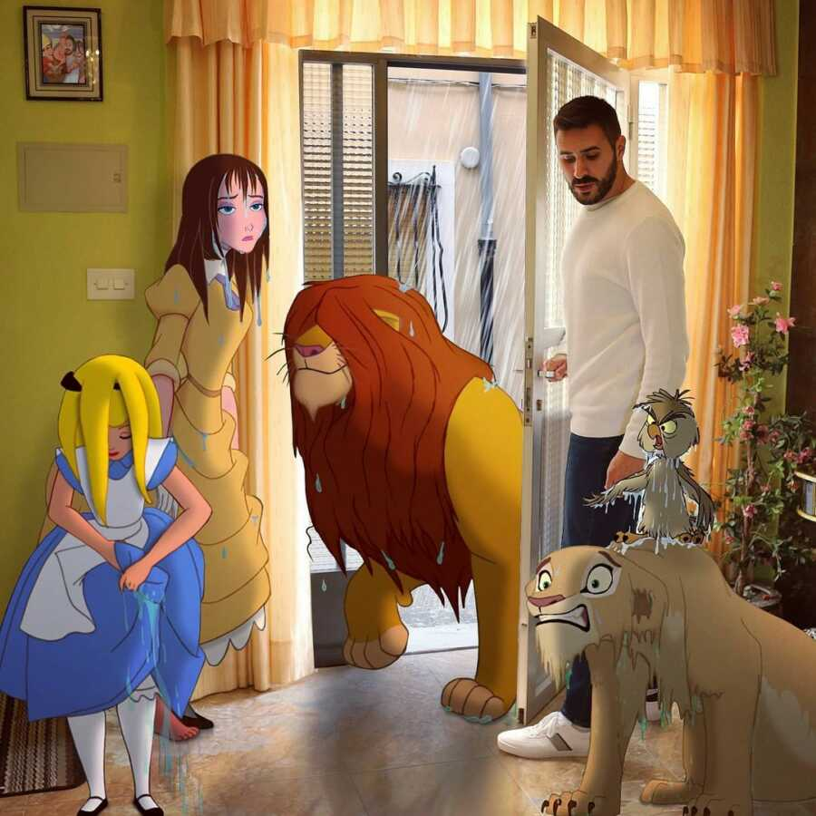 Man photoshops drenched Disney characters coming into his house to dry off.