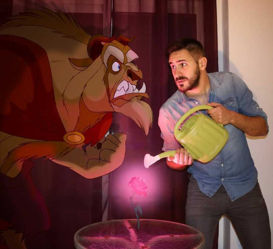 Man photoshops Disney character, the Beast, into a scene of him watering the rose in his living room.