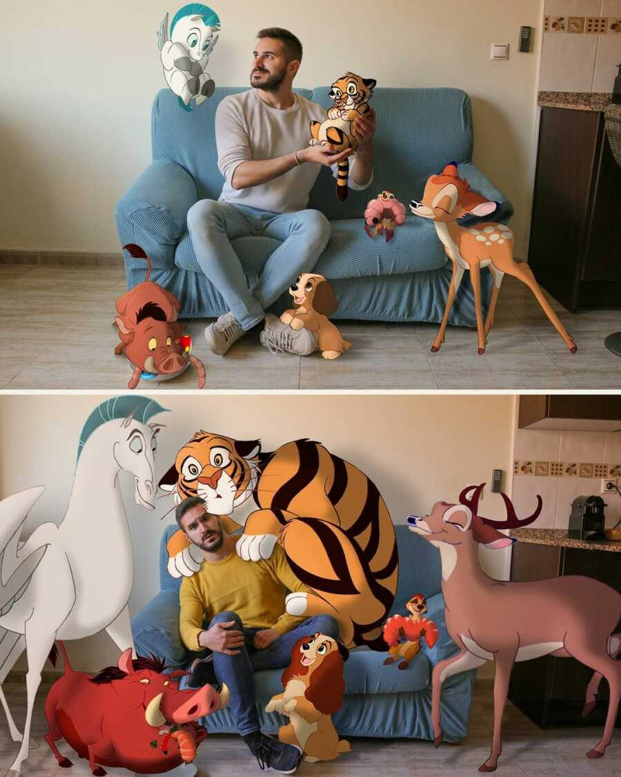 Man photoshops baby Disney animals and grown up versions into a scene in his living room.