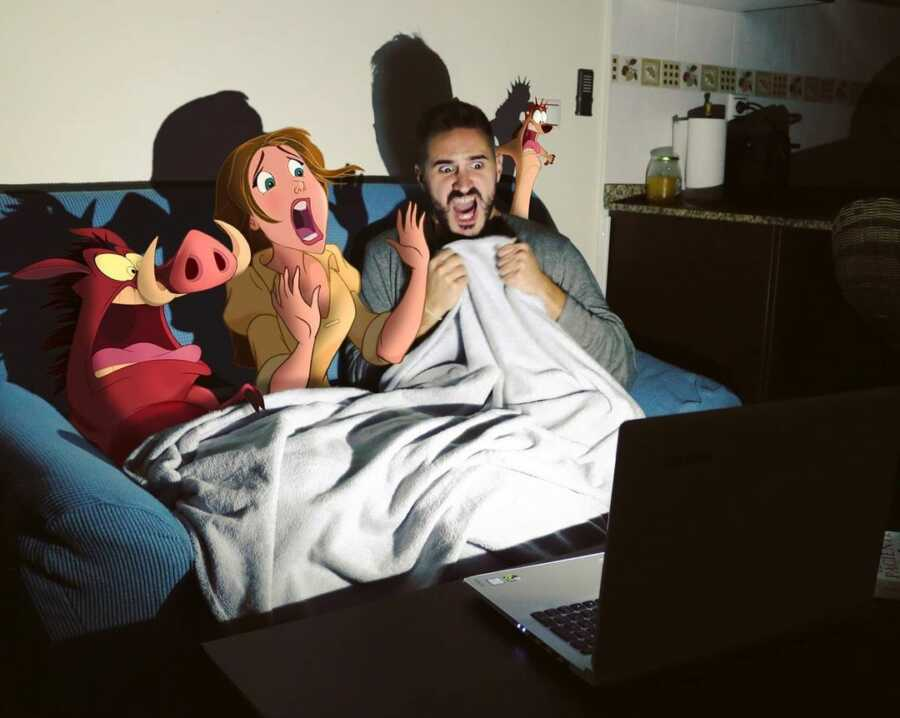 Man photoshops Disney characters into a scene of them watching a scary movie..