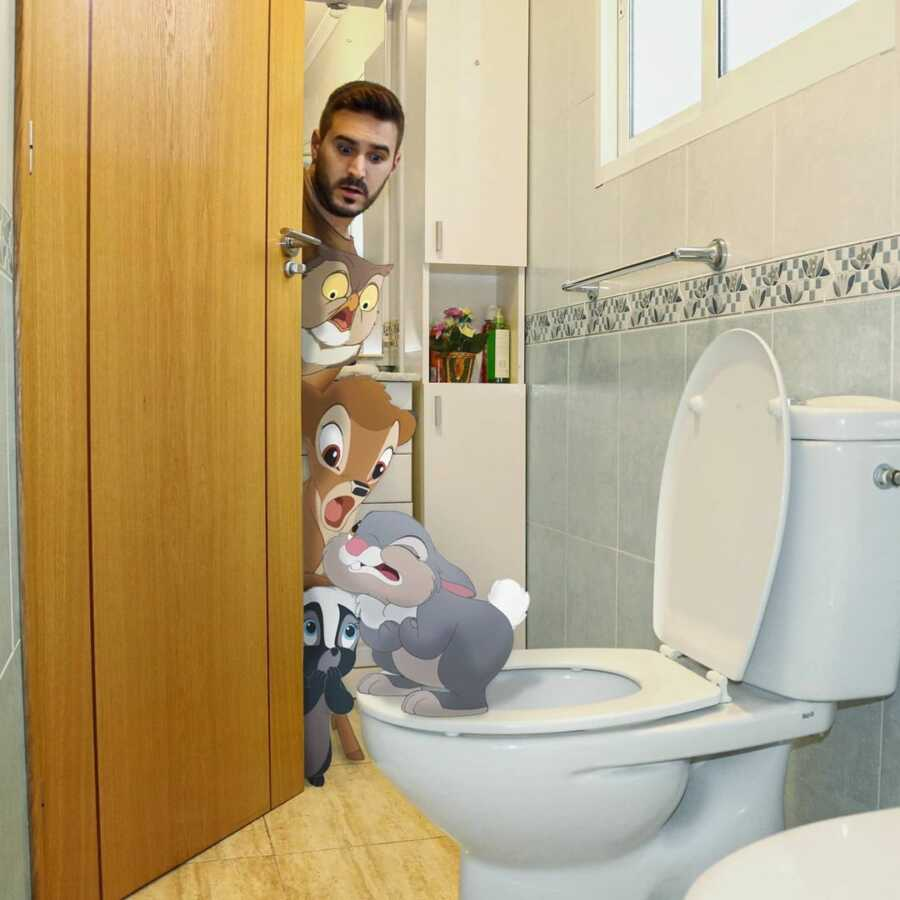 Man photoshops Disney's Bambi character, Thumper, into a scene in his bathroom.