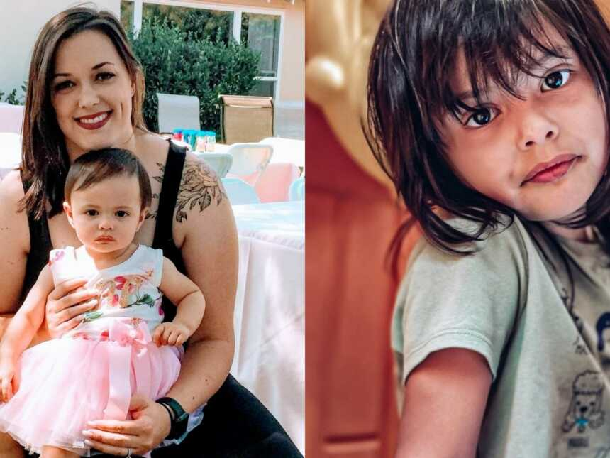 On the left, mom holds her one-year-old daughter at her birthday party, on the right, same girl looks intently into the camera while her mom takes her photo