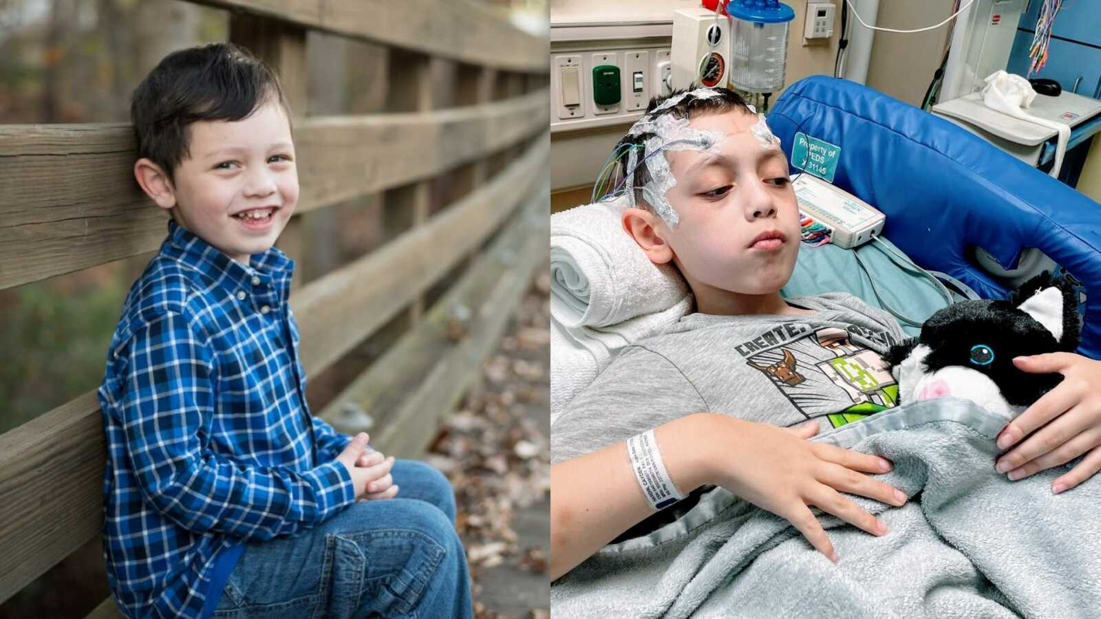 Special needs mom shares photos of her son with severe epilepsy, one smiling and carefree and one looking sad in the hospital