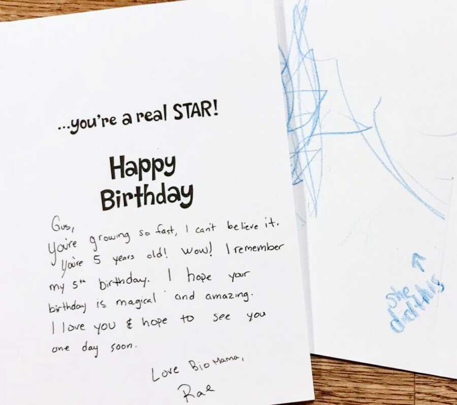Adoptive mom shares birthday card son's birth mom sent him