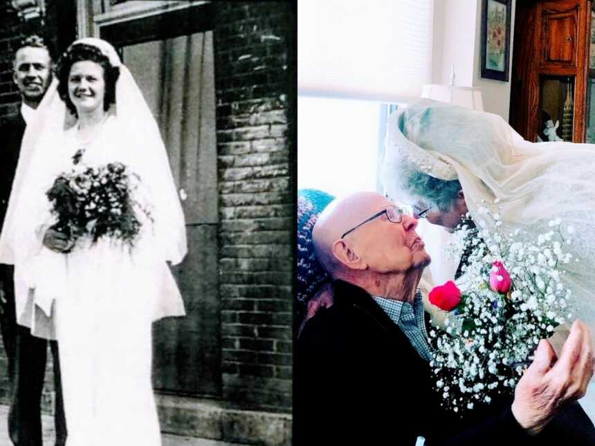 On the left, young couple smile big on their wedding day, on the right, same couple celebrate their 75th wedding anniversary