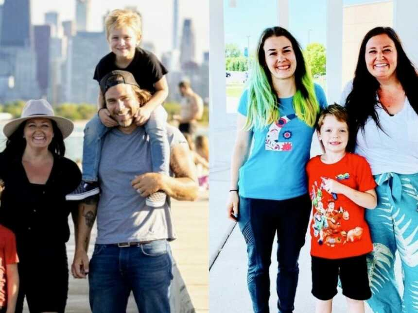 On the left, adoptive family take a photo together while on vacation, on the right, adoptive mom takes a photo with adopted son and birth mom