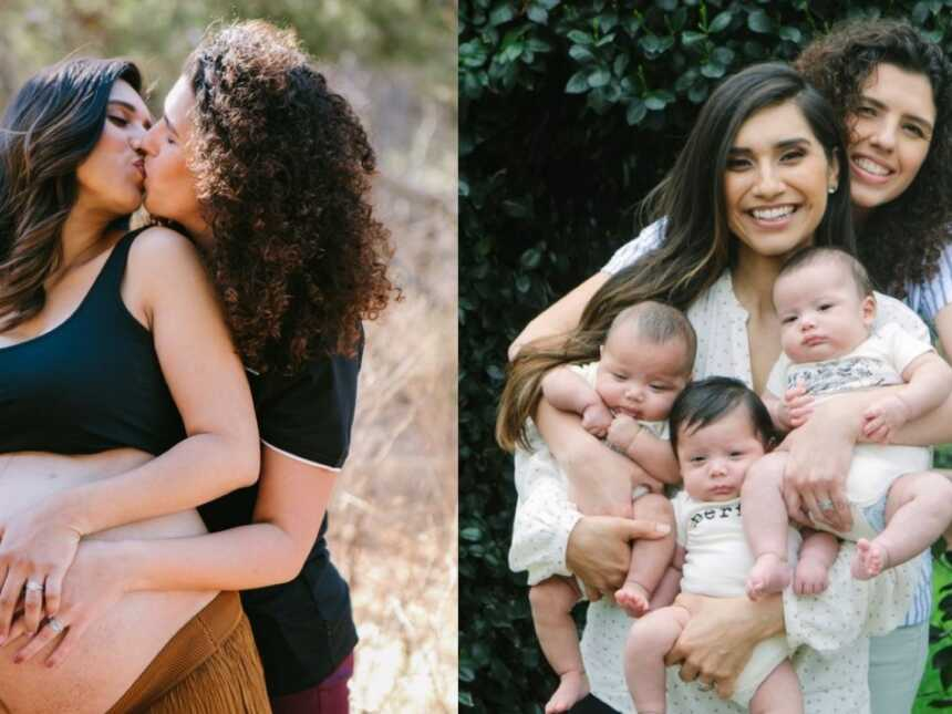 In left picture, two women kiss during their maternity photoshoot, in the right picture, same women hold their triplets for a family photo