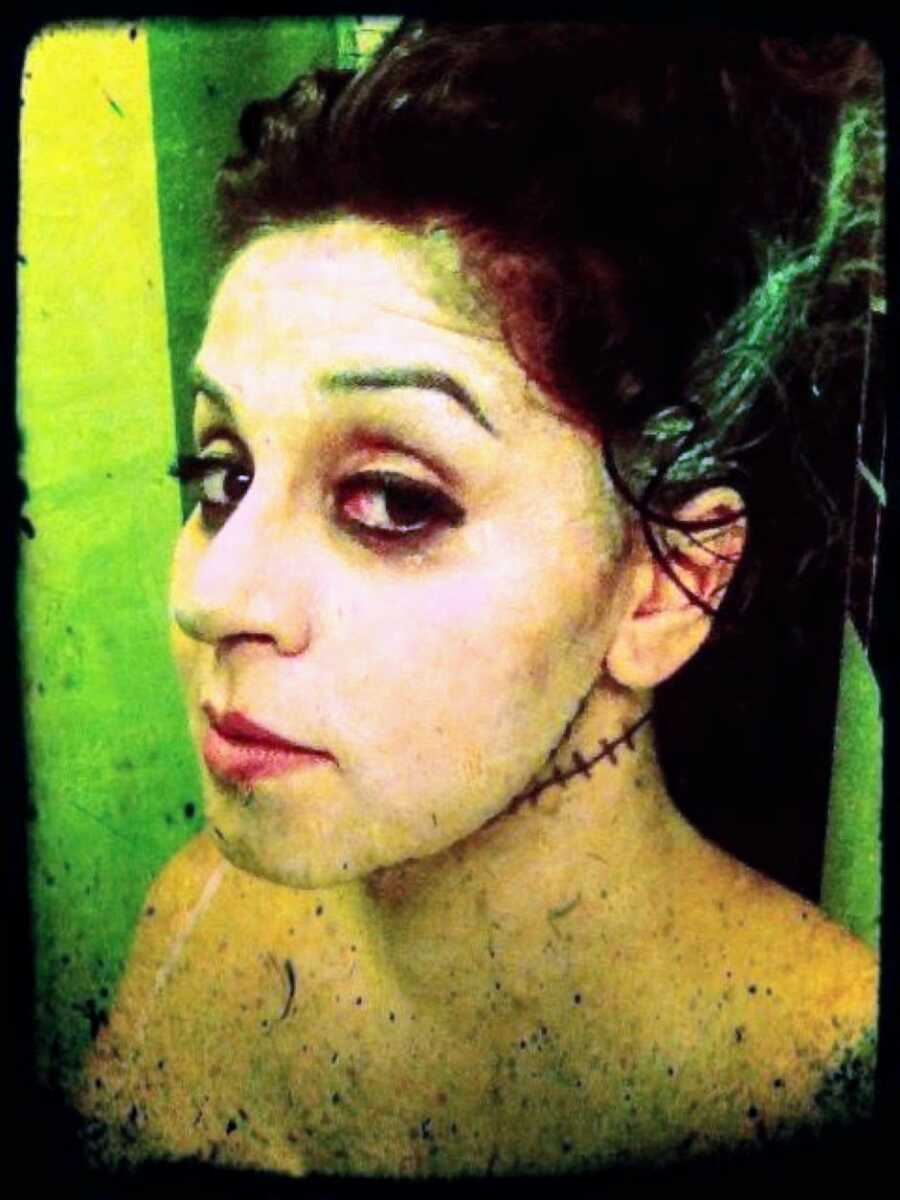Mom dresses up as the Bride of Frankenstein for Halloween