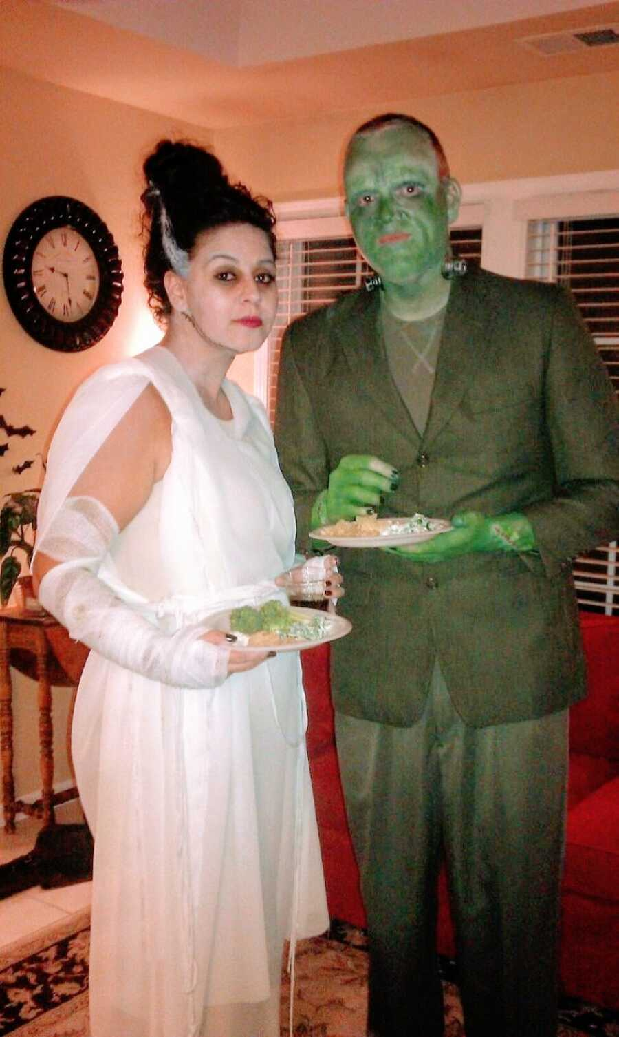 Newly dating couple dress up as Frankenstein and the Bride of Frankenstein for Halloween in 2012
