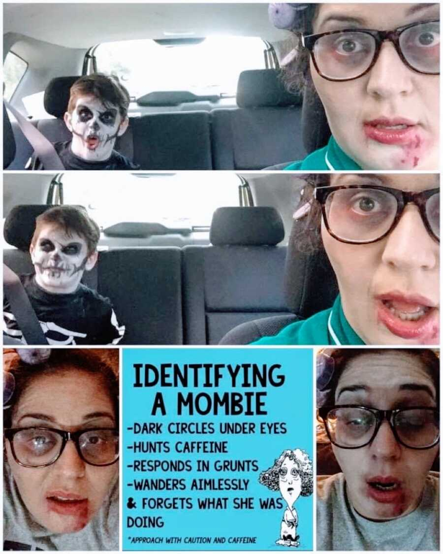Mom takes selfies with her son while wearing a DIY 'mombie' Halloween costume and he's dressed as a skeleton with face paint