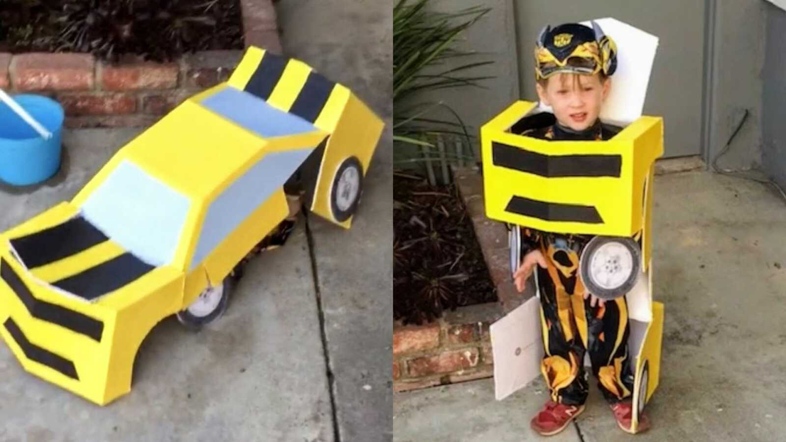 Little boy shows off his DIY Transformers Bumblebee costume before going trick or treating