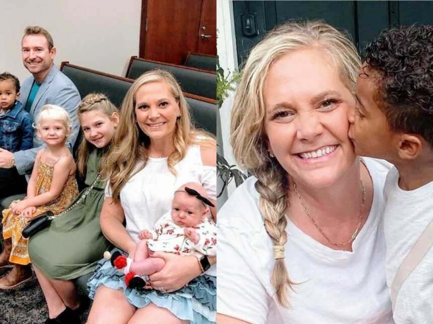 On the left, family of seven take a photo together in a courtroom, on the right, adopted son kisses his mom on the cheek