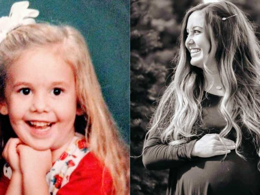 Little girl poses for a school photo on the left, same girl now a woman smiles big while pregnant with her first child
