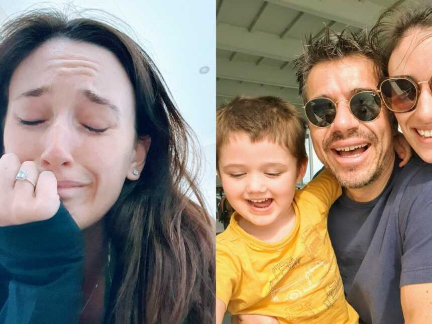 On the left, woman trying to escape an abusive relationship takes a selfie while crying, on the right, same woman smiles with her new boyfriend and son
