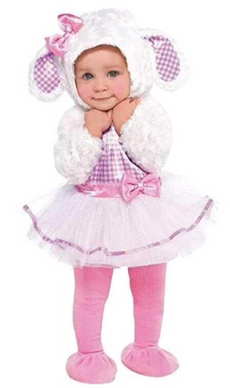 Little lamb baby girl Halloween costume.
