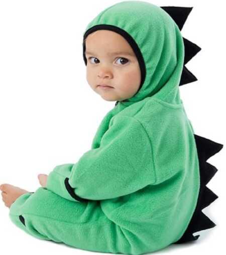 Green baby dinosaur onesie costume.