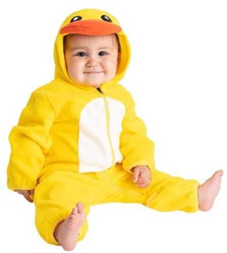 Yellow baby duck onesie costume.