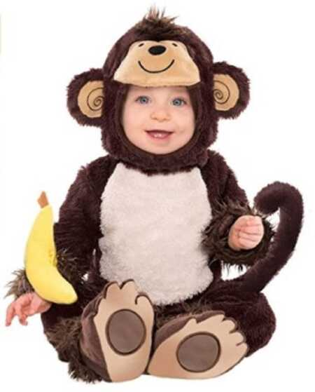 Brown baby monkey costume for Halloween.