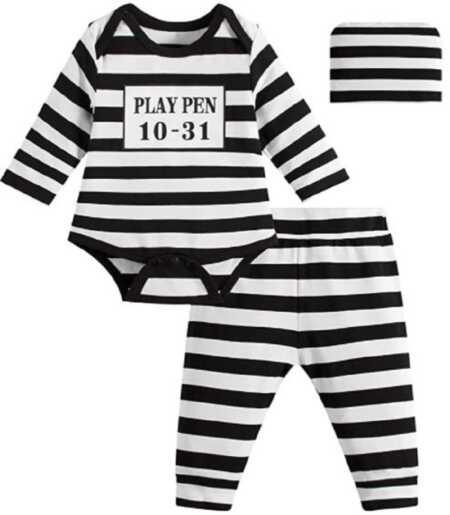 Funny baby prisoner costume for Halloween.