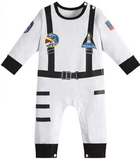 White baby astronaut jumpsuit costume.