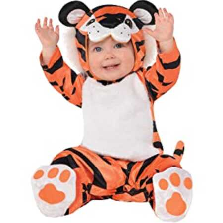 Adorable baby tiger onesie costume.