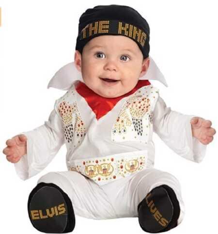 Funny baby Elvis The King Halloween costume.