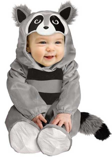 Baby raccoon onesie costume for Halloween.