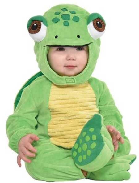 Adorable green baby turtle onesie costume.