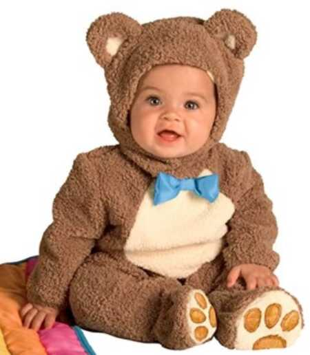 Brown bear baby costume with blue bow tie.