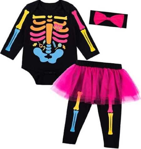 Colorful baby girl skeleton costume for Halloween.