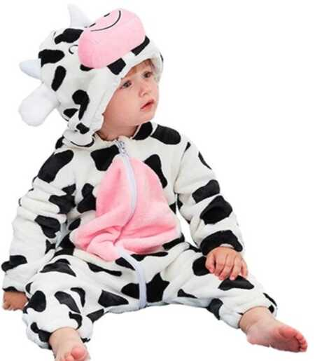 Baby cow jumpsuit costume.