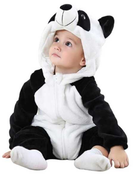 Black and white baby panda bear costume.