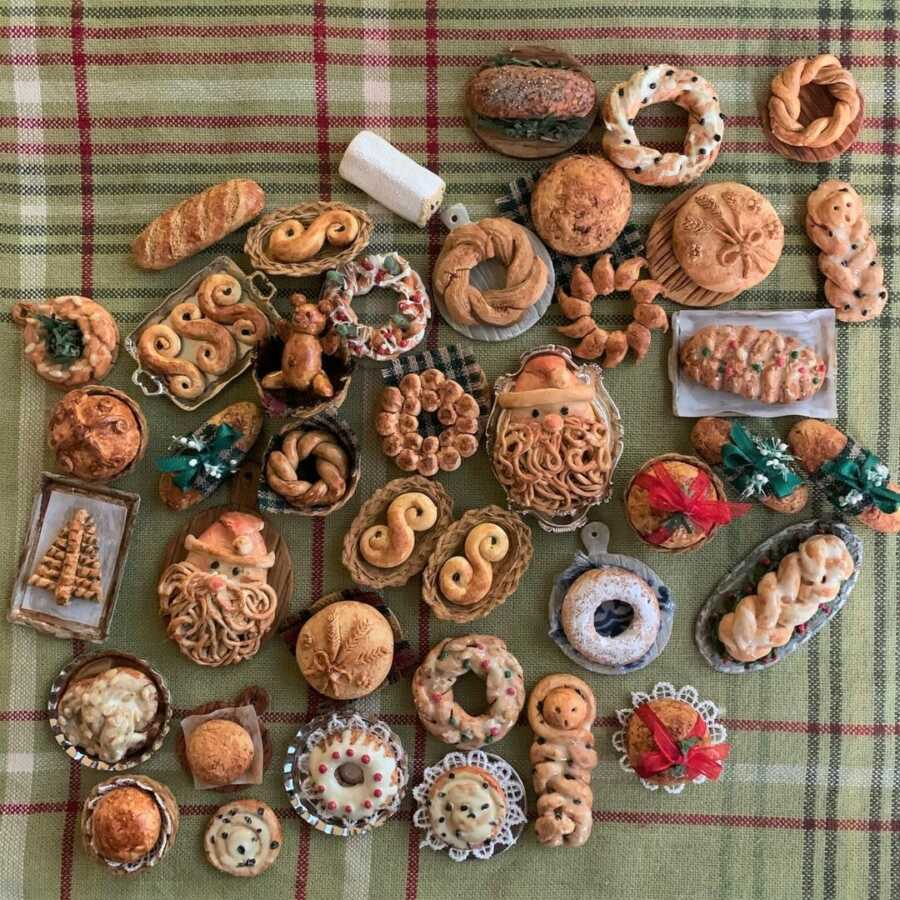 Miniature baked Christmas goods made from sculpted clay.