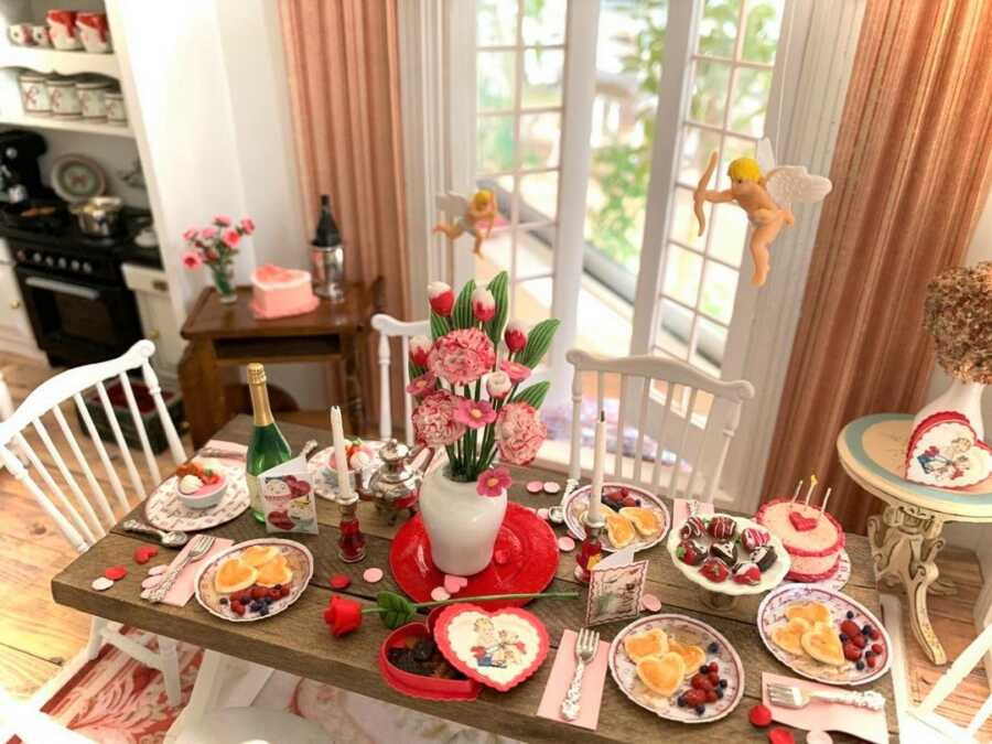 Miniature Valentine's Day spread clay sculpted dollhouse food.