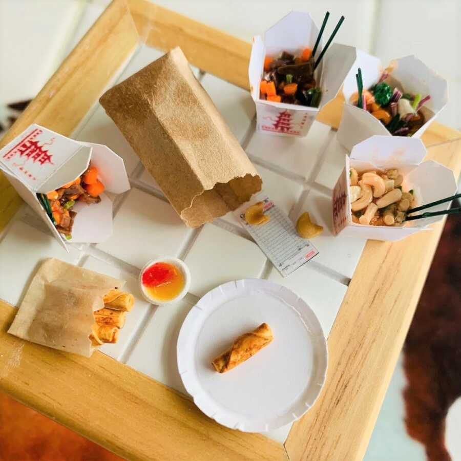 Miniature Chinese take-out clay sculpted dollhouse food.
