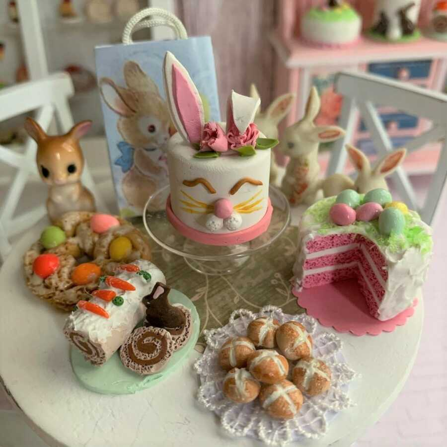 Miniature Easter dessert made from sculpted clay.