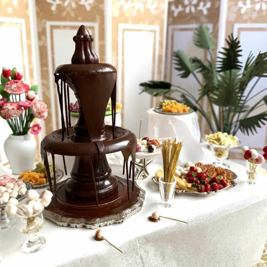 Miniature chocolate fountain clay sculpted dollhouse food.
