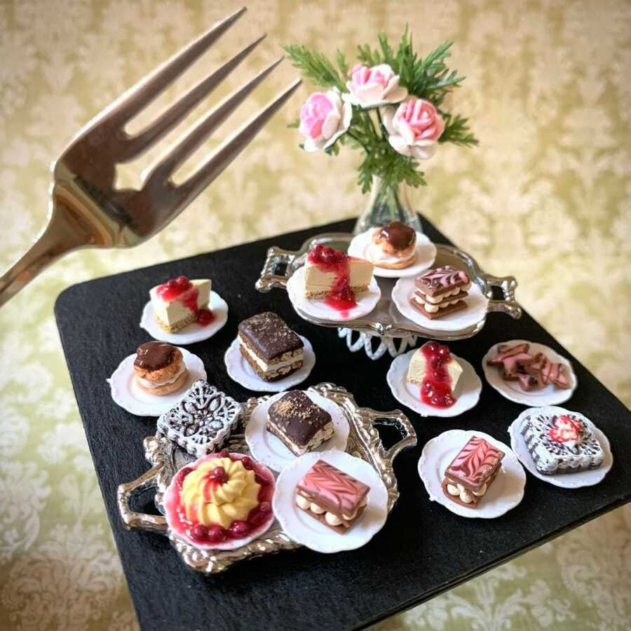 Miniature desserts clay sculpted for dollhouse food.