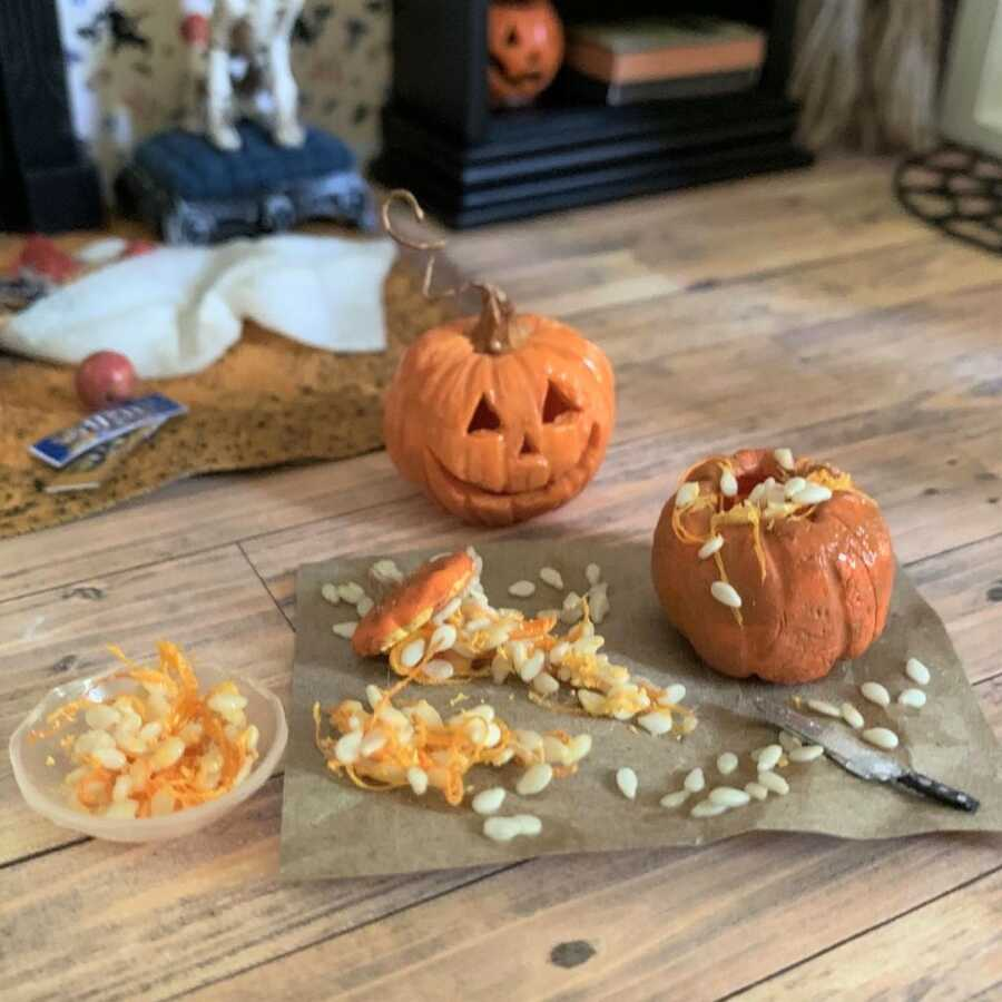 Miniature pumpkin carving clay sculpted dollhouse food.
