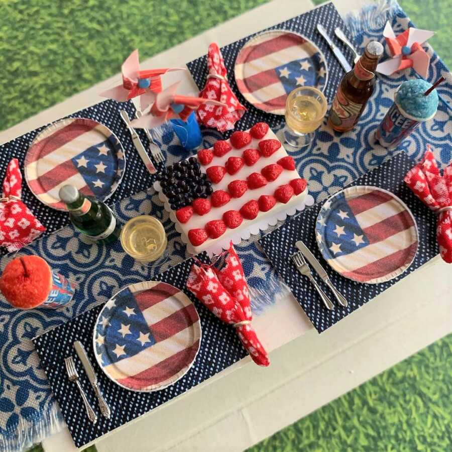 Miniature 4th of July clay sculpted dollhouse food.