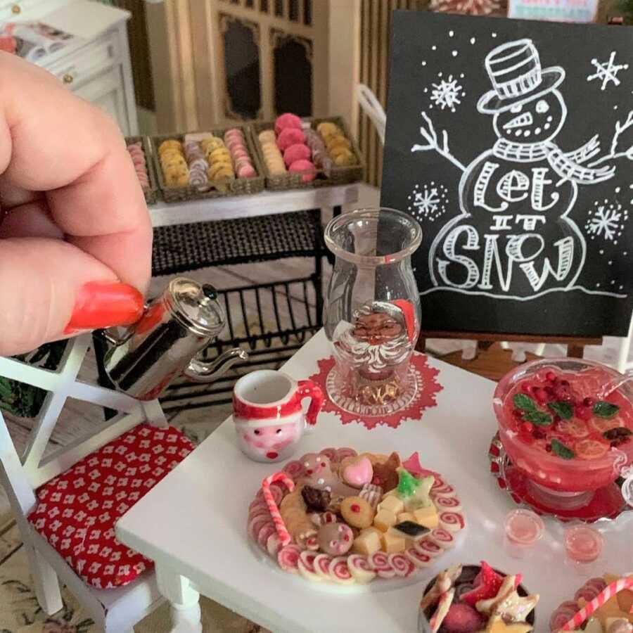 Miniature Christmas treats clay sculpted dollhouse food.