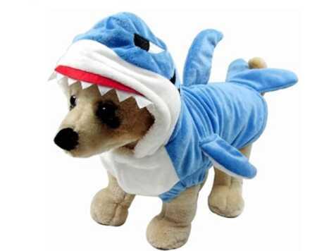 Funny blue shark pet costume for Halloween.